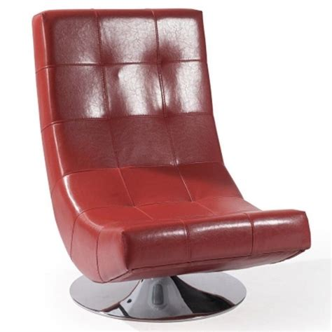 armen living mario leather swivel accent chair in