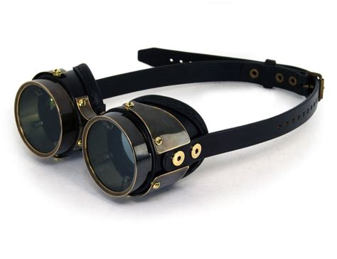 Steampunk Goggles Black Leather Blackened Brass Quad By