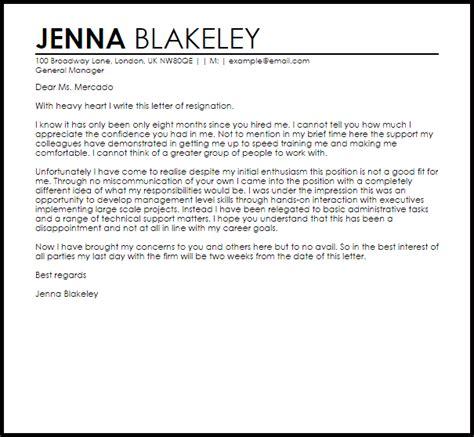 good fit resignation letter  letter samples