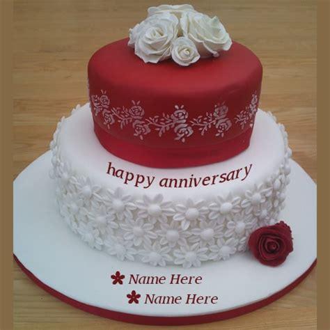 red  white anniversary wishes cakes