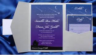 Couple Under Starry Night Shooting Stars Crescent Moon Pocketfolds STARS AND MOON WEDDING INVITATION Wedding Invitations By Jinaiji Space Theme Invitations Space Theme Announcements Invites Zazzle Amazing Moon Stars Themed Weddings And Wedding Invitations