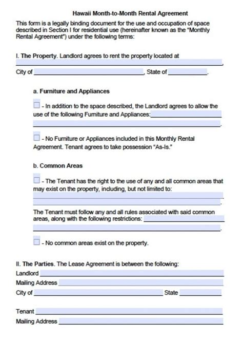 hawaii month  month lease agreement  word
