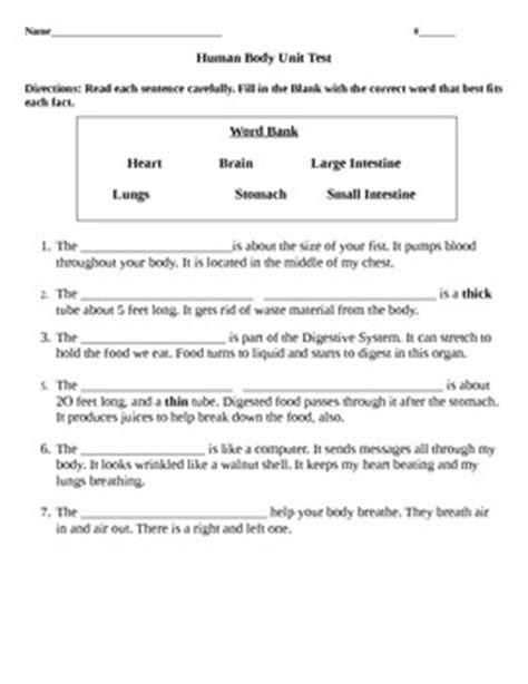 human body systems test quiz worksheet by kassie johnson tpt