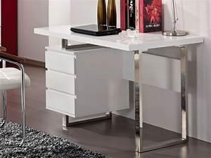 Bureau Avec Rangement : bureau mylan avec rangements 3 tiroirs coloris blanc ~ Teatrodelosmanantiales.com Idées de Décoration