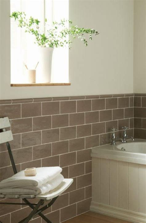 Truffle brick tiles in a sophisticated bathroom. From the