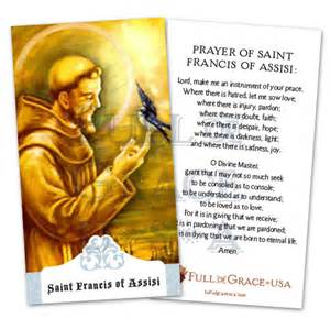 st francis of assisi holy card prayer of st francis of