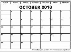 October 2018 Calendar calendar template excel