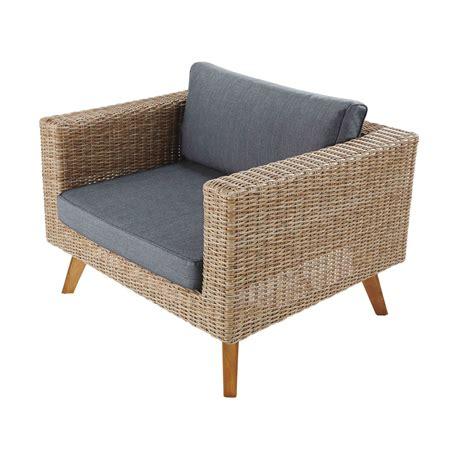 fauteuil de jardin en r 233 sine tress 233 et toile anthracite feroe maisons du monde