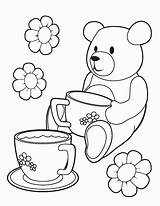 Coloring Tea Party Pages Teddy Printable Colouring Picnic Bear Bears Template Birthday Teaparty Comments Parties Coloringhome Site sketch template
