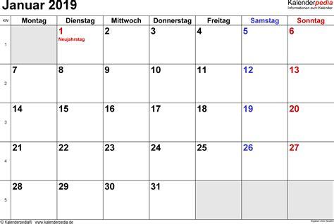 kalender januar als vorlagen