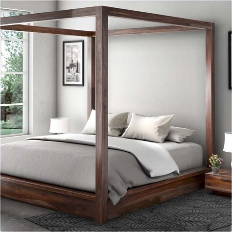 wood canopy bed hshire rustic solid wood canopy bed