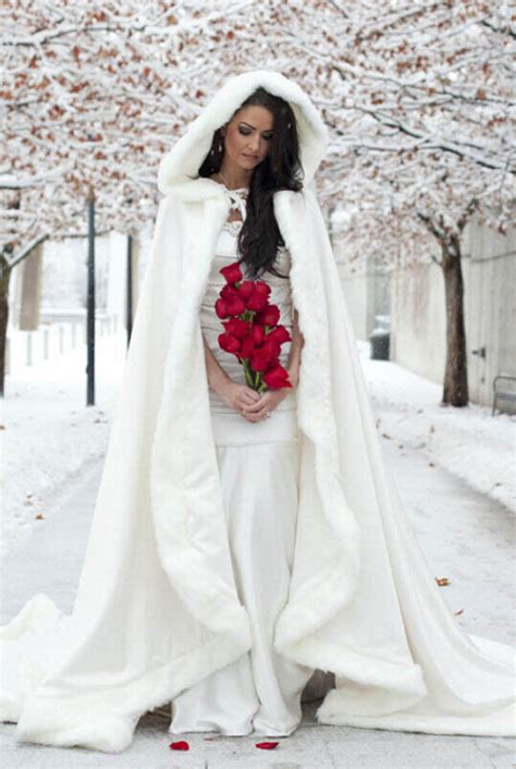 Long Bridal Coats Winter Wedding Dress Hooded Cloak Cape