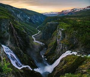 Nature, Landscape, Canyon, River, Mountain, Snowy, Peak, Waterfall, Norway, Wallpapers, Hd