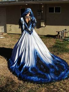 gothic wedding gown in metalic blue and black with With dip dyed wedding dress for sale