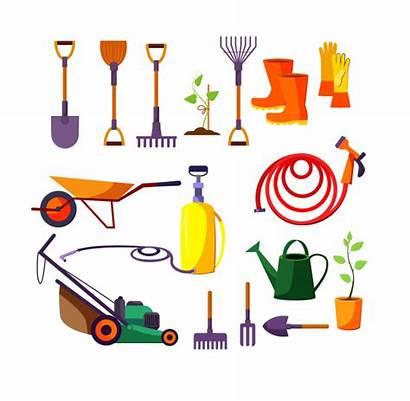 Tools Gardening Vector Illustration Lawn Freepik Equipment