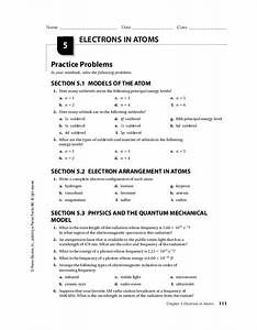 Electrons In Atoms Worksheet For 9th