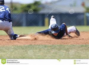 Baseball Action Image - Head First Slide Into Base ...