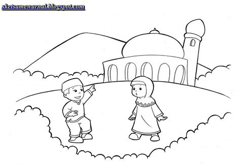 kartun muslim mewarnai kolek gambar