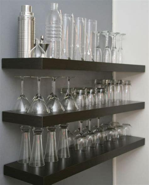 Bar Shelving Ideas by For A Dedicated Bar Area Hang Shelves Above Bar