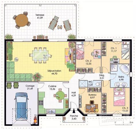 plan villa plain pied 4 chambres trendy plan habill rdc maison maison with plan de maison
