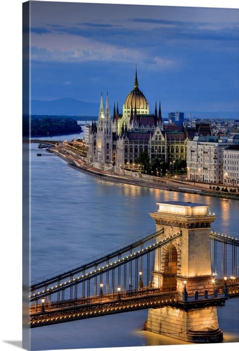Wall décor decorative pillows picture frames & displays. Hungary, Budapest, Parliament Buildings, Chain Bridge and River Danube Wall Art, Canvas Prints ...