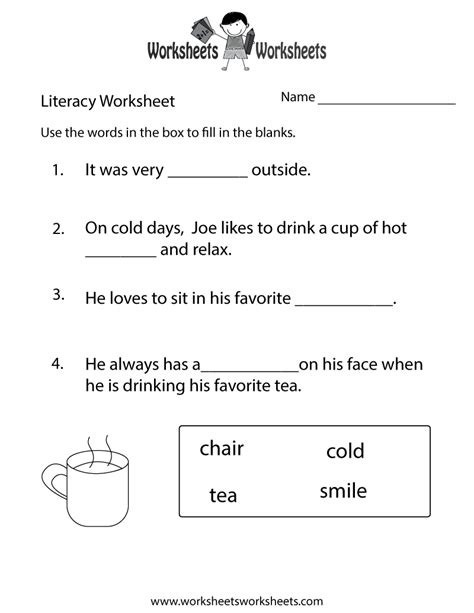 kindergarten literacy worksheet  printable