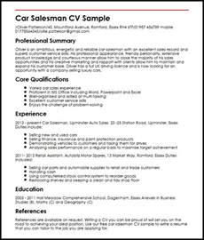 car sales resume sles car salesman cv sle myperfectcv