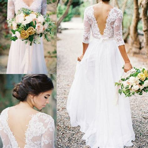 Bohemia Lace Chiffon Wedding Dresses V Neck 34 Long