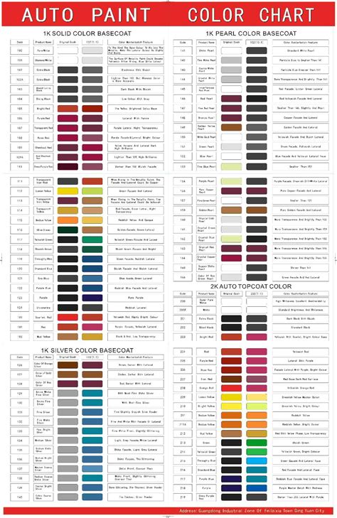 free auto paint color chart for high quality china paint china car paint auto paint