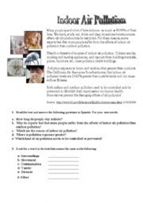 English Worksheet Indoor Air Pollution