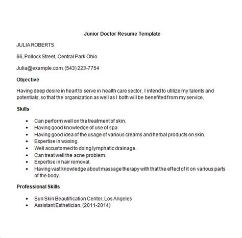 doctor resume templates 15 free sles exles