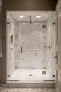Marble Shower ledge - Transitional - bathroom - Archer