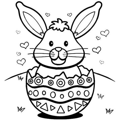easter bunny  hearts   broken egg shell coloring