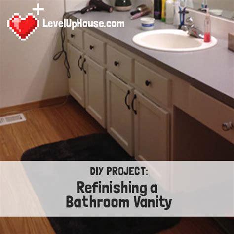 refinishing  wood bathroom vanity part  preparation