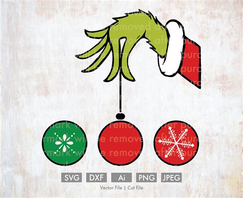grinch hand svg  christmas ornaments cut