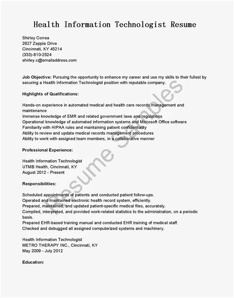 resume sles health information technologist resume sle