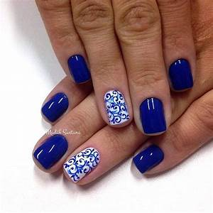 50 Blue Nail Art Designs | White polish and Detail