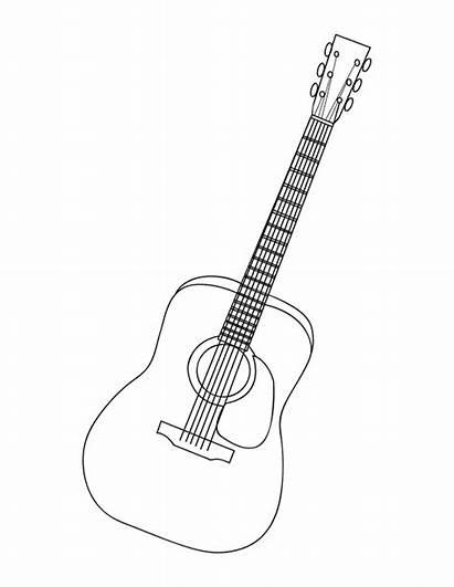 Guitar Coloring Acoustic Kolorowanki Guitars Gitara Instruments