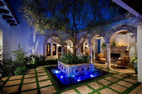 courtyard water features entry modern with sloped ceiling