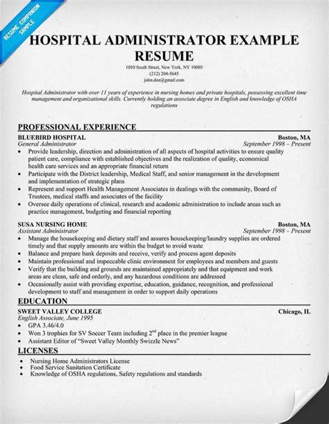 hospital administrator resume resumecompanioncom medical resume samples