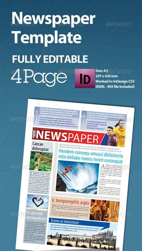 indesign newspaper template best photos of tabloid newspaper format tabloid newspaper template front page newspaper