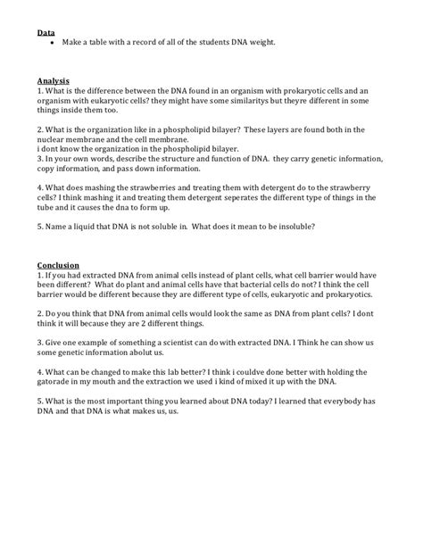 Dna Extraction Resume by Dna Extraction From Strawberries Lab Report Professional Writing Skills In
