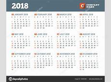 Takvim şablonu 2018 yıl için İleti örneği tasarımı Hafta