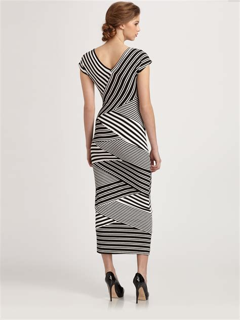 lyst nicole miller diagonal striped stretch jersey dress