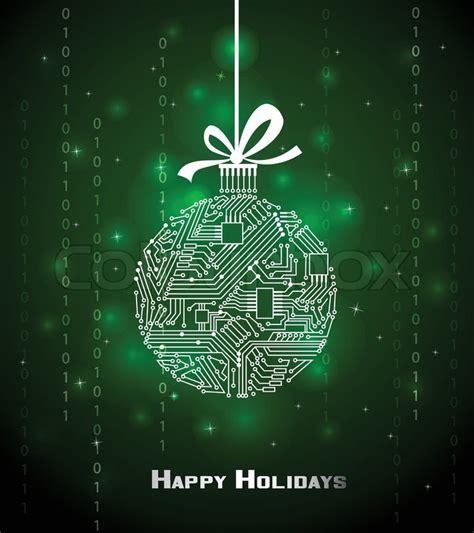 tech christmas ball  green background   digital