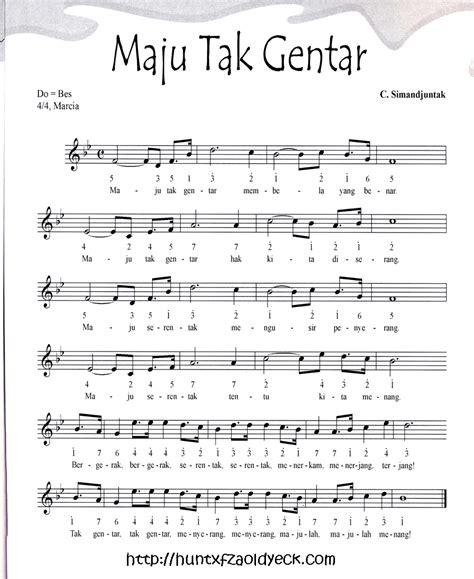 bagimu negeri not balok partitur lagu wajib dan nasional