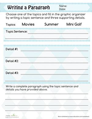 writing a paragraph worksheet education
