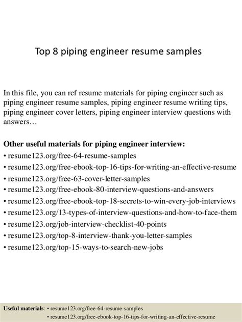 Resume Cover Letter For Piping Designer by Top 8 Piping Engineer Resume Sles
