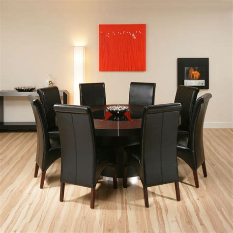 table and 8 chairs large round black oak dining set table 8 high back