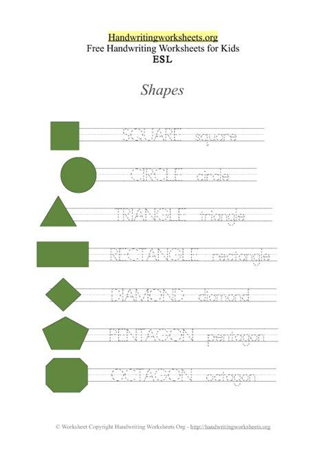esl handwriting worksheets names of shapes handwriting